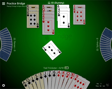 Board showing dummy's suggested card