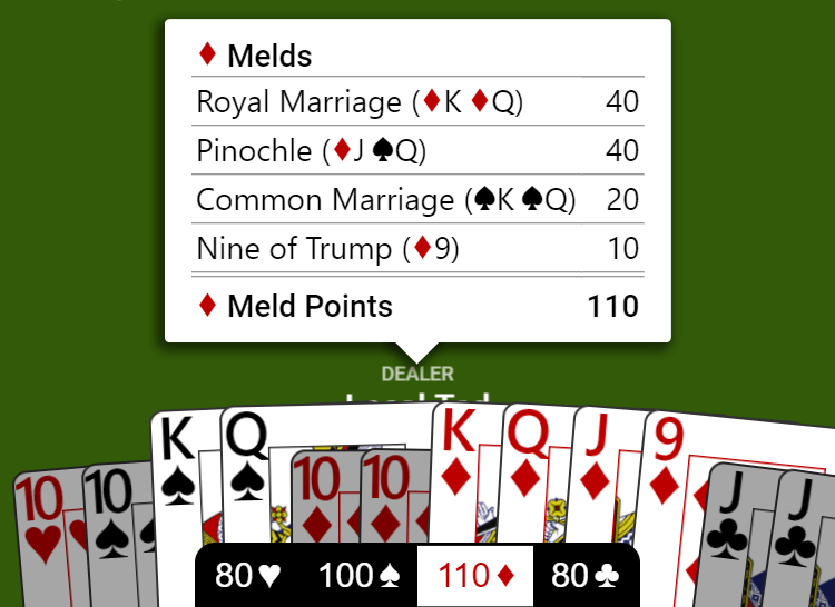 "Meld if diamonds were trump shown by clicking ""110♦"" in the meld summary bar."